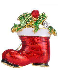 Alloy Leaf Rhinestone Christmas Shoe Brooch - Golden