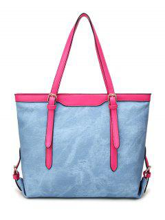Metallic PU Leather Buckle Shoulder Bag - Light Blue