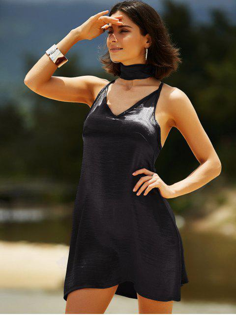 hot Pure Color Cami Satin Dress - BLACK L Mobile