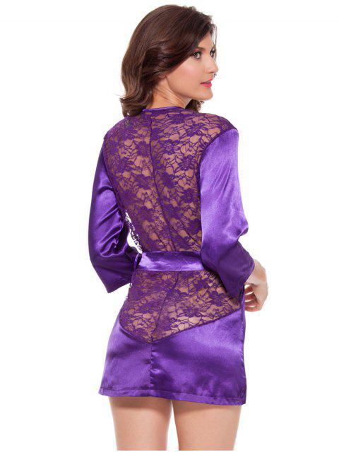 new Cut Out Lace Spliced Wrap Sleepwear - PURPLE XL Mobile