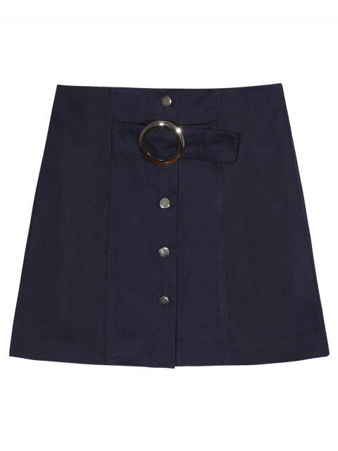 women A Line Single-Breasted Skirt - PURPLISH BLUE 2XL Mobile