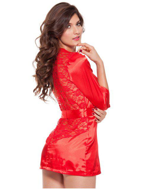 best Cut Out Lace Spliced Wrap Sleepwear - RED 3XL Mobile