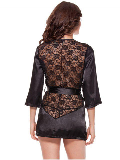 hot Cut Out Lace Spliced Wrap Sleepwear - BLACK 2XL Mobile