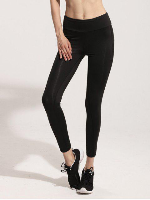 women Mesh Panel Gym Leggings - BLACK M Mobile