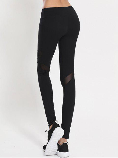 Leggings panneau en maille - Noir S Mobile