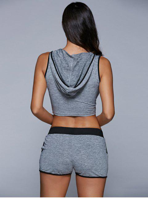 women Letter Print Hooded Sleeveless Crop Top and Drawstring Shorts - GRAY S Mobile