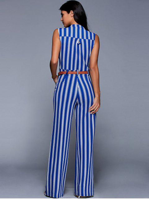 affordable Striped Belted Plunging Neck Sleeveless Jumpsuit - BLUE S Mobile