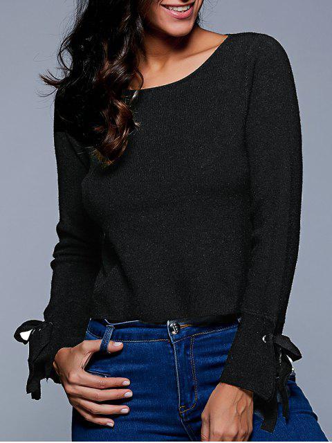 shops Slash Neck Cropped Sweater - BLACK L Mobile