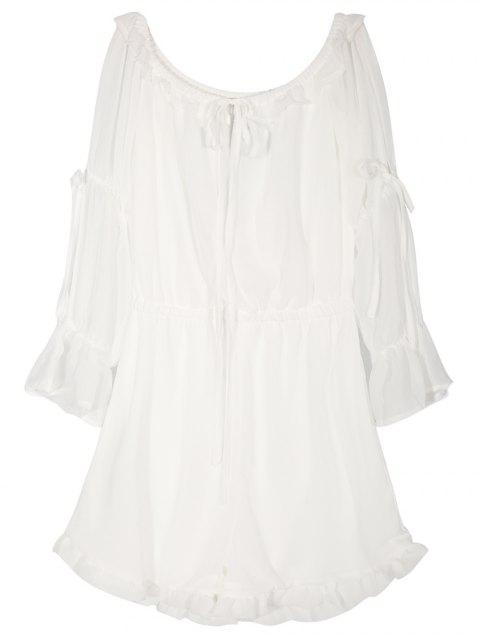 fancy Off The Shoulder Chiffon Romper - WHITE M Mobile