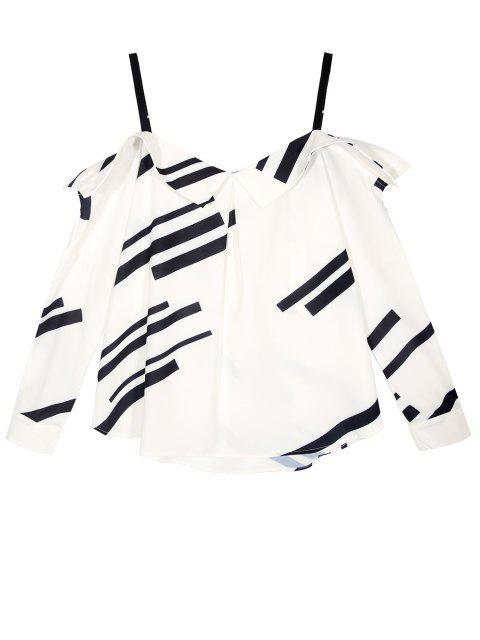womens Long Sleeve Color Block Cold Shoulder Blouse - WHITE 2XL Mobile