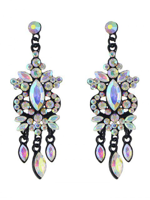 trendy Faux Gem Rhinestone Layered Drop Earrings - BLACK  Mobile