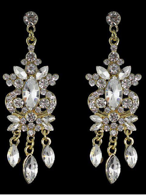 fashion Faux Gem Rhinestone Layered Drop Earrings - GOLDEN  Mobile