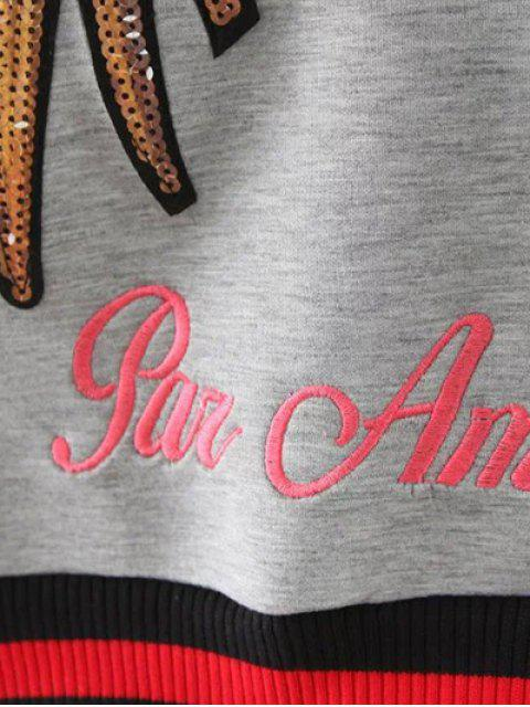 outfit Sequins Embroidered Sweatshirt - GRAY L Mobile