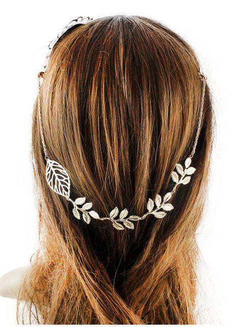 Verschönert Blatt Haarschmuck - Golden  Mobile
