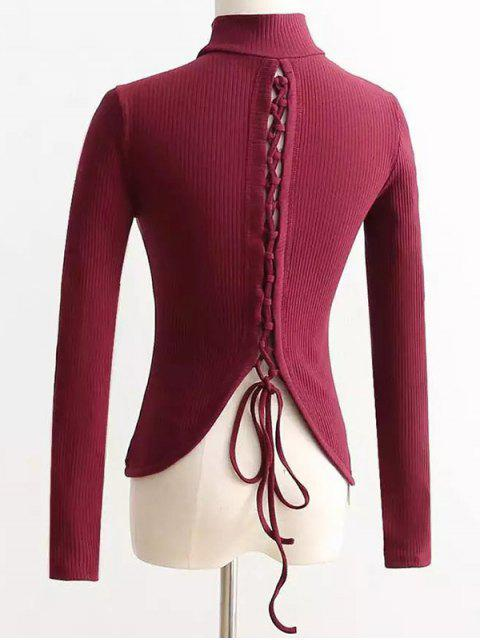 fashion Reversible Lace Up Knitwear - WINE RED S Mobile