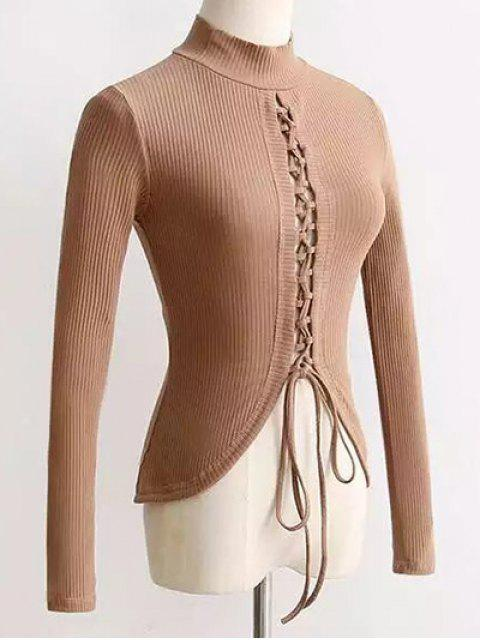 fancy Reversible Lace Up Knitwear - APRICOT S Mobile