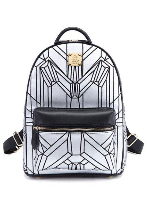 chic Embroidery Geometric Pattern PU Leather Backpack - SILVER AND BLACK  Mobile