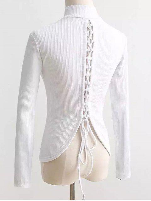 women Reversible Lace Up Knitwear - WHITE S Mobile