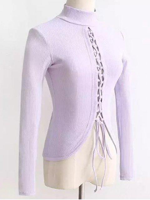 affordable Reversible Lace Up Knitwear - LIGHT PURPLE M Mobile