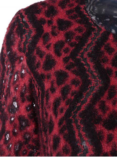 sale Chevron Stripe Long Sleeve Thermal Dress - RED L Mobile