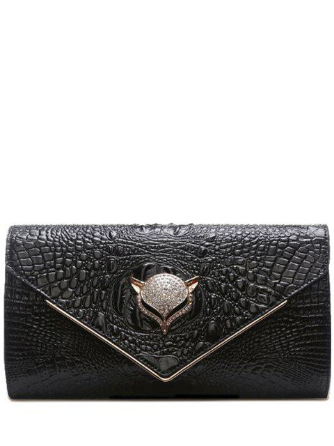 lady Rhinestones Embossing PU Leather Evening Bag - BLACK  Mobile