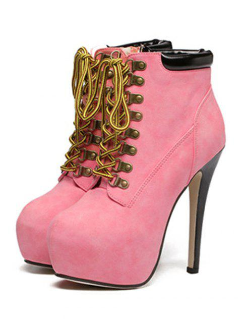 new Platform Stiletto Heel Lace-Up Ankle Boots - PINK 39 Mobile