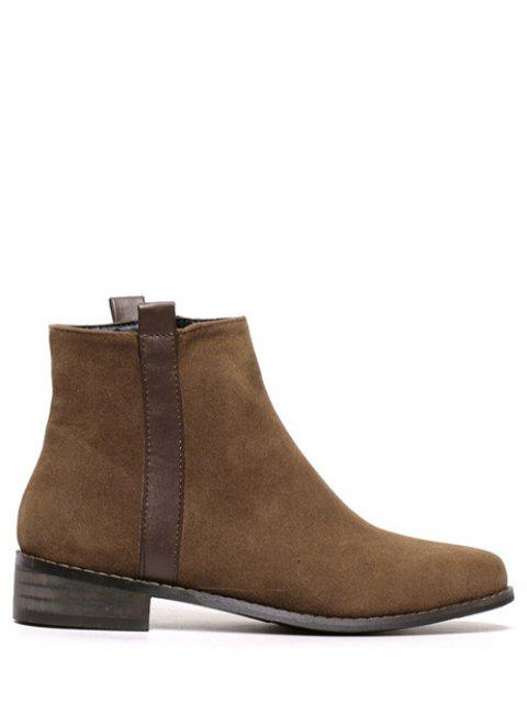 buy Rounde Toe Side Zip Suede Boots - BROWN 39 Mobile