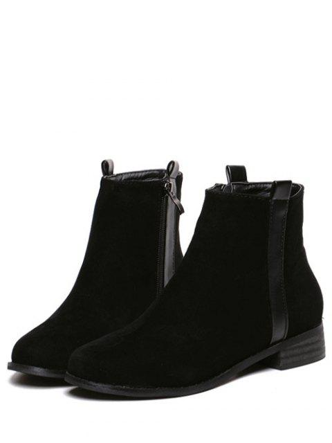 ladies Rounde Toe Side Zip Suede Boots - BLACK 37 Mobile