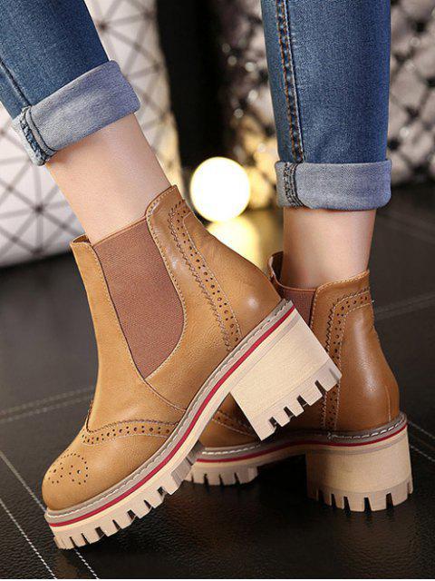 shop Vintage Engraving Chunky Heel Boots - LIGHT BROWN 39 Mobile