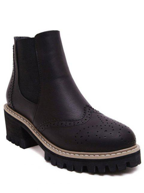 chic Vintage Engraving Chunky Heel Boots - BLACK 38 Mobile