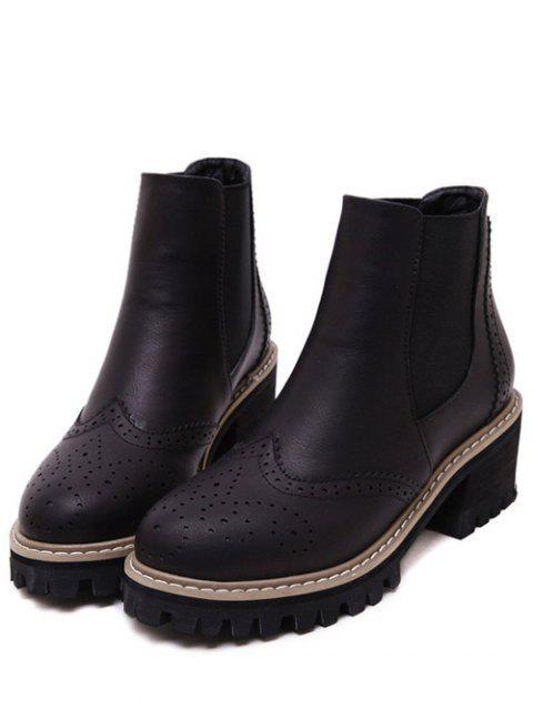 fashion Vintage Engraving Chunky Heel Boots - BLACK 37 Mobile
