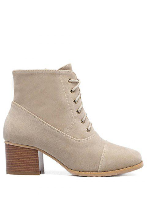 fancy Suede Square Toe Chunky Heel Boots - APRICOT 39 Mobile