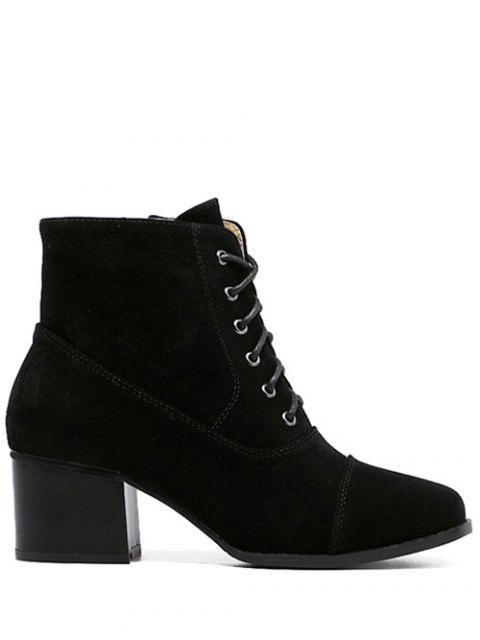 affordable Suede Square Toe Chunky Heel Boots -   Mobile