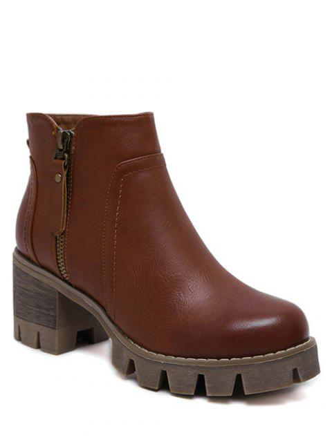 new Vintage Double Zips Chunky Heel Boots - BROWN 39 Mobile