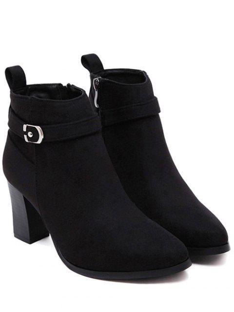 latest Flock Buckle Chunky Heel Boots - BLACK 39 Mobile