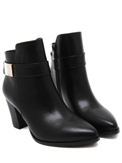 fancy Metal Embellished Pointed Toe Chunky Heel Boots - BLACK 37 Mobile