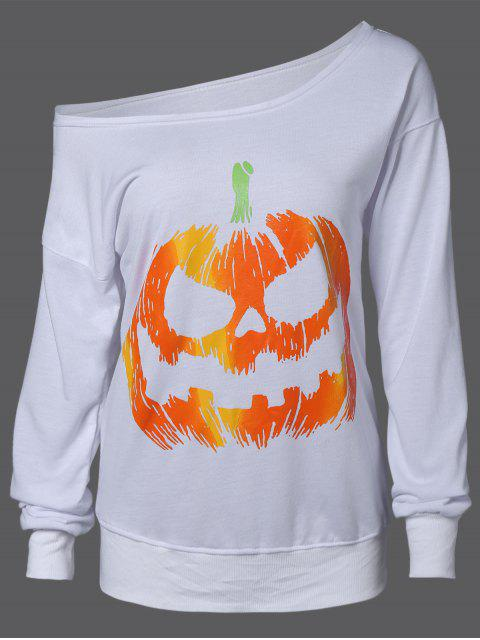 women's Skew Neck Pumpkin Sweatshirt - WHITE XL Mobile