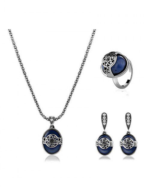 fashion Engraved Flower Faux Sapphire Jewelry Set - BLUE ONE-SIZE Mobile