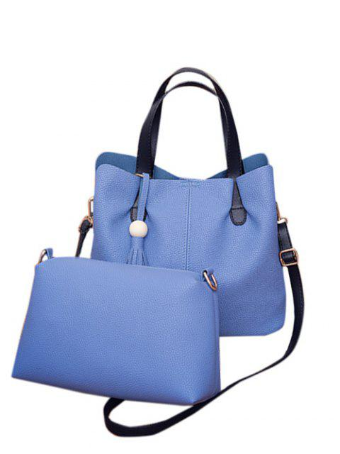 best Textured Leather Tassels Bead Tote Bag - BLUE  Mobile