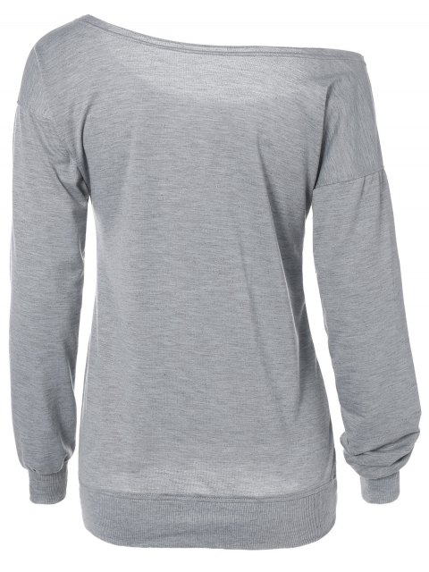 fancy Letter Skew Neck Sweatshirt - GRAY S Mobile