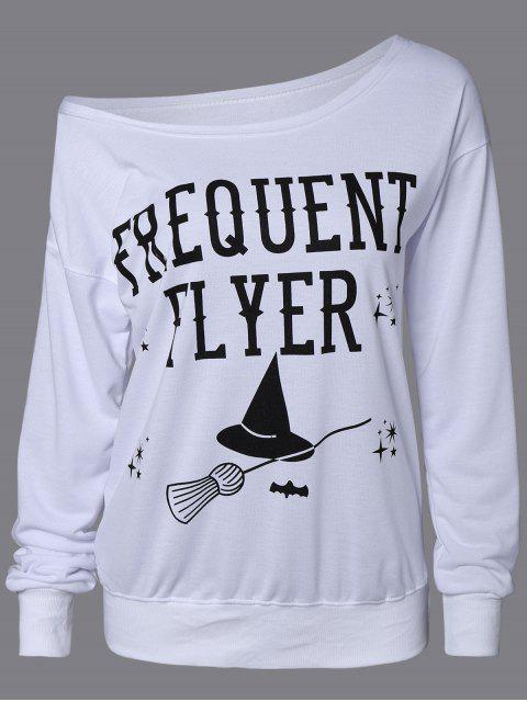 buy Letter Skew Neck Sweatshirt - WHITE L Mobile