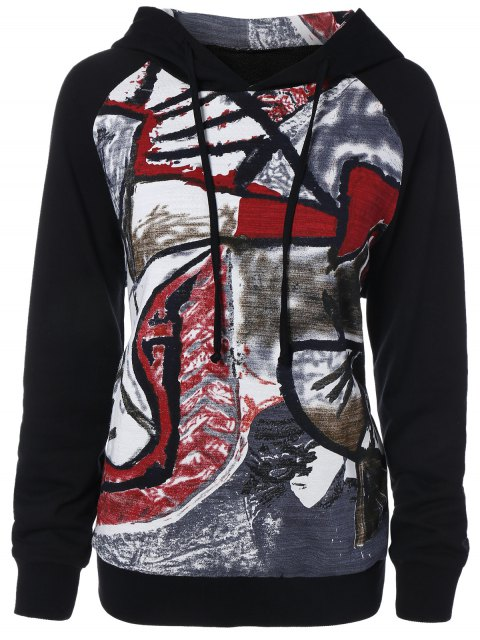 women Graffiti Print Pullover Hoodie - BLACK M Mobile