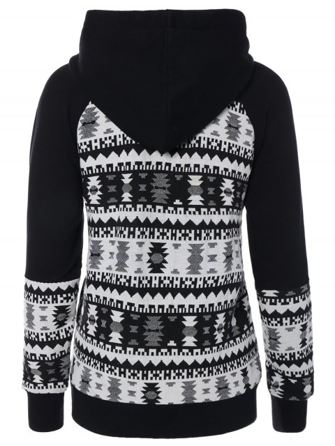 ladies Front Pocket Jacquard Pullover Hoodie - WHITE AND BLACK XL Mobile