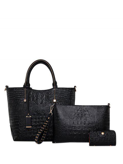 Geprägte Zipper PU-Leder-Taschen-Tasche - Schwarz  Mobile