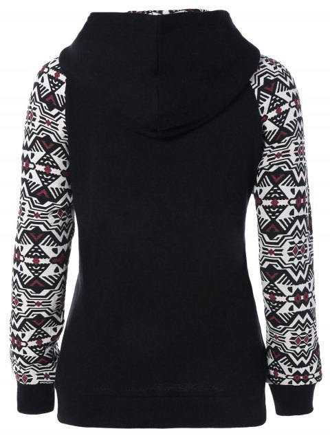 chic Pullover Front Pocket Hoodie - BLACK AND WHITE AND RED L Mobile
