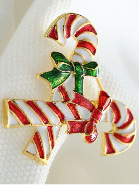 womens Alloy Bows Candy Cane Christmas Brooch -   Mobile