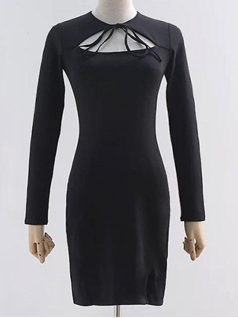 Vestido de corte recto de manga larga - Negro S Mobile
