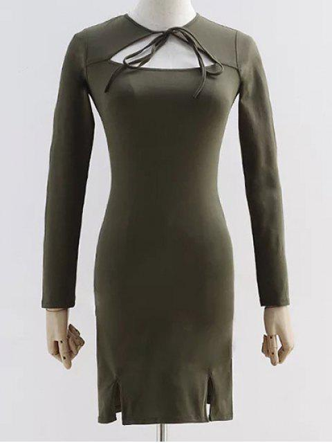 trendy Cut Out Long Sleeve Slit Dress - ARMY GREEN S Mobile