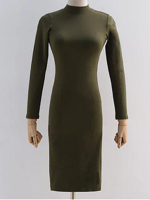 Back Ausschnitt Pencil Dress - Bundeswehrgrün M Mobile