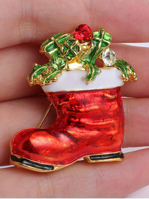 hot Alloy Leaf Rhinestone Christmas Shoe Brooch - GOLDEN  Mobile